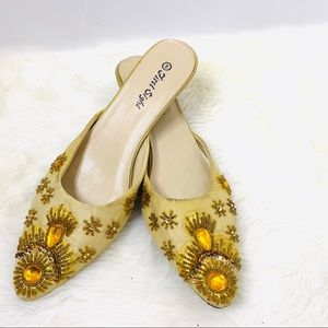 First Sight Gold Embellished Mules Size 8